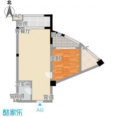 德雅湾阳光海76.63㎡7幢12单元户型2室1厅1卫1厨