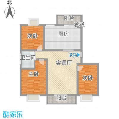 大通绿岛家园格林风尚126.38㎡B户型3室2厅1卫1厨