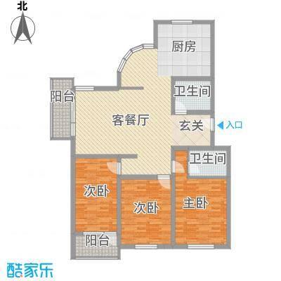 大通绿岛家园格林风尚137.44㎡E户型3室2厅2卫1厨