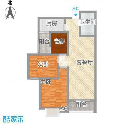 美林湾114.55㎡户型3室2厅1卫1厨