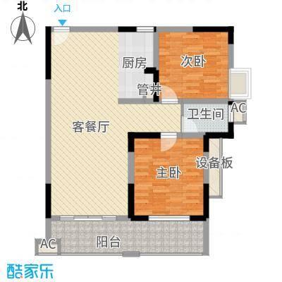 袭汇旺角名门6.36㎡A-5户型2室2厅1卫1厨