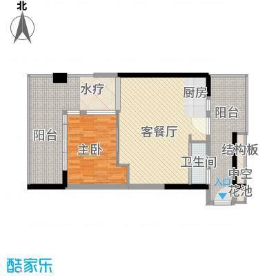 合正东部湾76.60㎡公寓A2-1户型1室2厅1卫1厨