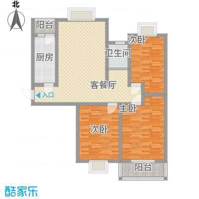 万宁城市景苑11.00㎡15#、19#边户D户型3室2厅1卫1厨