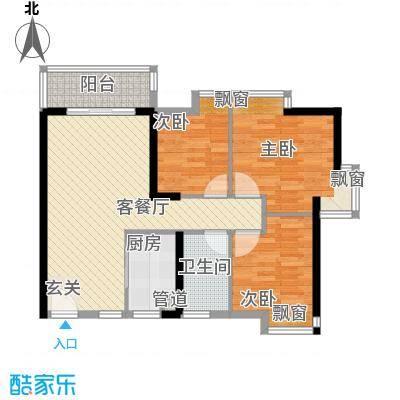 佳兆业水岸华都2栋1单0、2单0户型3室2厅1卫1厨