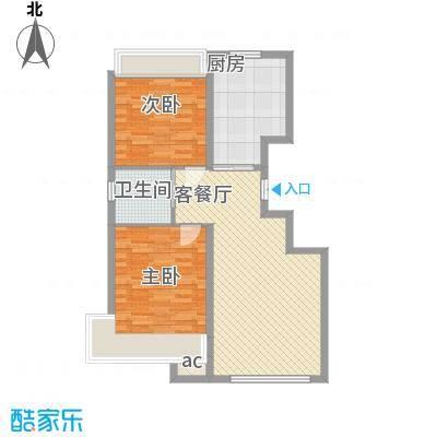 豪邦缇香公馆88.00㎡一期尊域D户型2室2厅1卫1厨