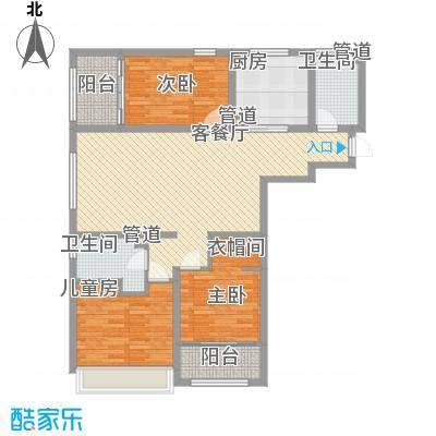 华创观礼中心137.10㎡1号楼标准层K1户型3室2厅1卫1厨