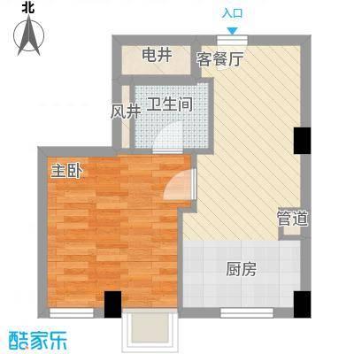 杰仕豪庭5.70㎡D3户型1室2厅1卫1厨