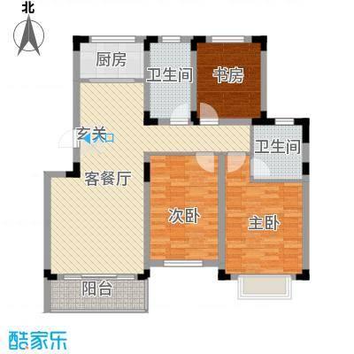 翰林华府113.00㎡一期标准层A户型3室2厅2卫1厨