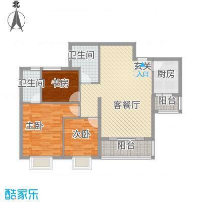 顺景半山豪苑116.00㎡户型3室2厅2卫1厨