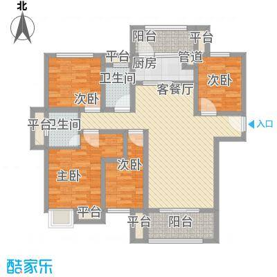 万盛凤凰城128.00㎡B1户型4室2厅2卫1厨