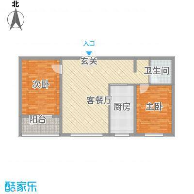 阳光水岸1.36㎡D户型2室2厅1卫