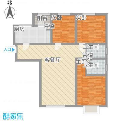 生态城公园360°126.14㎡21-33#楼三居户型3室2厅2卫1厨
