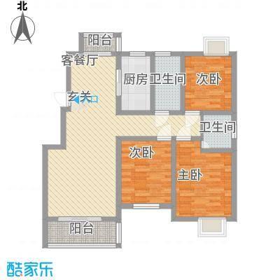 钟吾壹号11.00㎡4#边户户型3室2厅2卫1厨