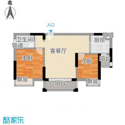 信德华府55.86㎡二期高层24#、25#楼D6户型2室2厅1卫1厨