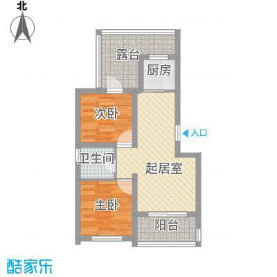 华鑫现代城67.60㎡C1户型2室1厅1卫1厨
