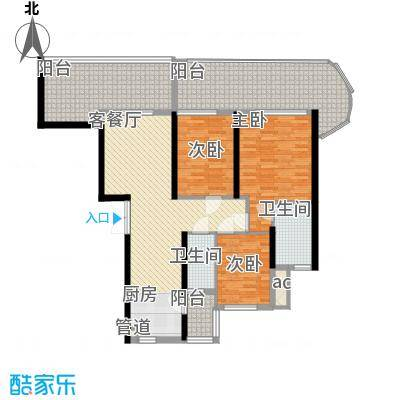 御景国际花园88.60㎡5栋3单元02偶数层户型3室2厅2卫1厨