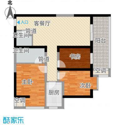 翡翠明珠1.22㎡二期6#、7#A户型3室2厅2卫1厨