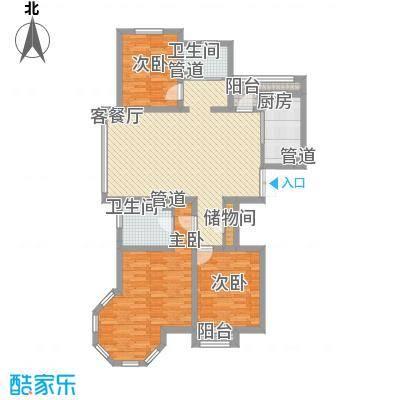 新湖香格里拉138.00㎡三期高层标准层A户型3室2厅2卫1厨