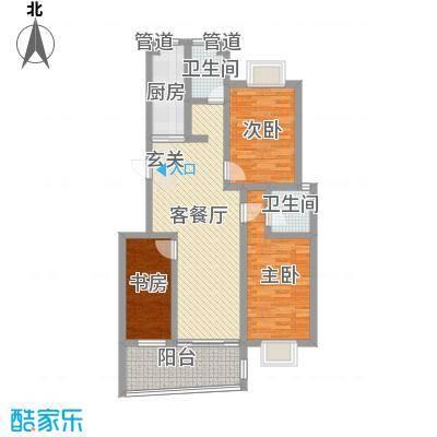 德惠・尚书房112.00㎡一期3号楼标准层G户型3室2厅2卫1厨