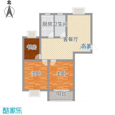东城名苑114.71㎡一期1号楼标准层A户型3室1厅1卫1厨
