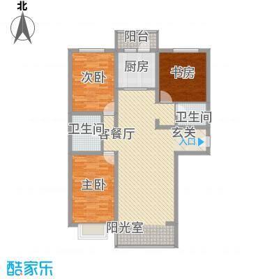 蓝山国际116.80㎡E户型3室2厅2卫1厨