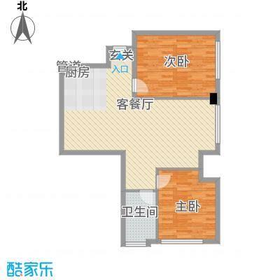太伟方恒广场8.00㎡D座H户型2室2厅1卫1厨