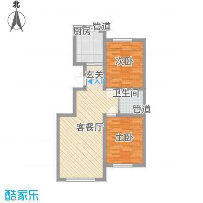 中铁香堤美郡G1户型2室2厅1卫1厨