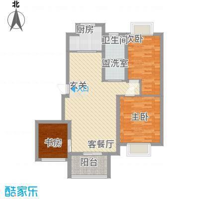 天惠景庭15.54㎡18#楼中间户J户型3室2厅1卫1厨