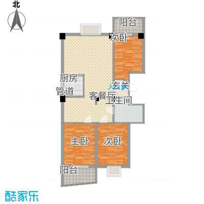 云龙海岸花园三期117.00㎡24栋户型3室2厅1卫