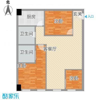 中盛国际112.00㎡公寓A座B座D户型2室1厅2卫1厨
