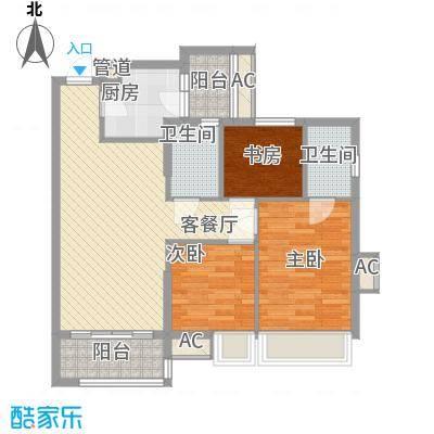 德雅湾阳光海82.00㎡16幢01单元户型3室2厅1卫1厨