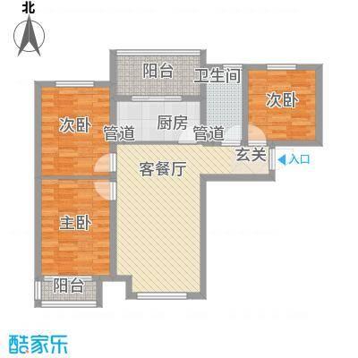 恒基现代城111.00㎡18#楼三居户型3室2厅1卫1厨