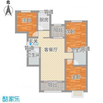 恒基现代城122.00㎡18#楼三居户型3室2厅1卫1厨
