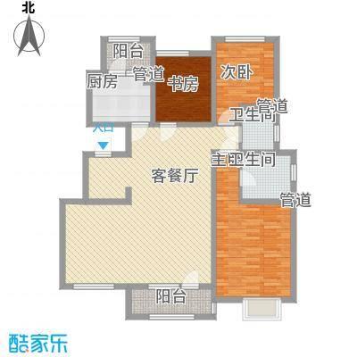 生态城公园360°138.51㎡21#楼三居户型3室2厅2卫1厨