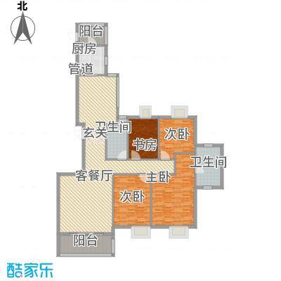 国贸润园167.00㎡1#楼户型4室2厅2卫1厨