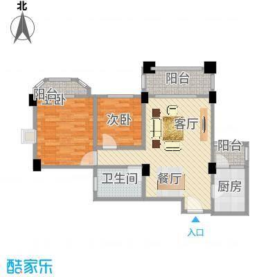 南沙碧桂园67.35㎡户型2室1厅1卫1厨-副本