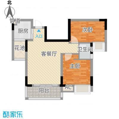 鸿馨园68.48㎡1栋户型2室2厅1卫