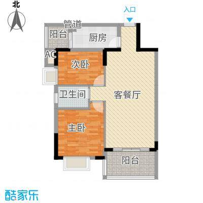 鸿馨园84.72㎡2栋户型2室2厅1卫