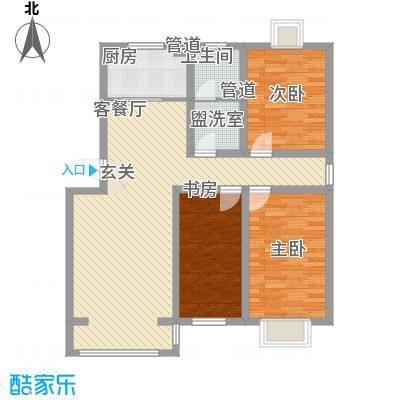 青熙境121.41㎡A-120A户型3室2厅1卫1厨