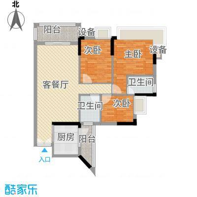 水岸珑庭14.40㎡12座03单元户型3室2厅2卫1厨