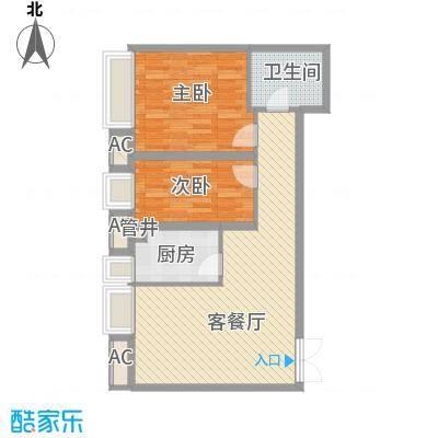 恒实城市广场・新城市花园1.34㎡5-4-03-D3户型2室2厅1卫1厨