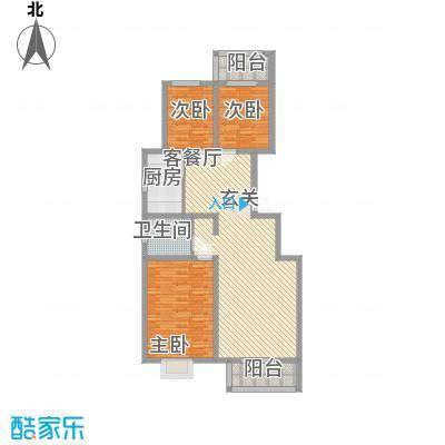 良园新居133.68㎡1号楼3号楼A5户型3室2厅1卫1厨