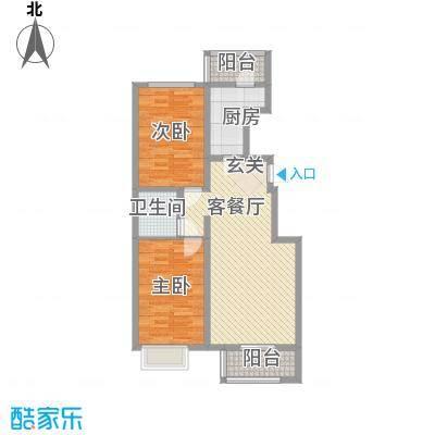 良园新居1.12㎡6号楼E5户型2室2厅1卫1厨
