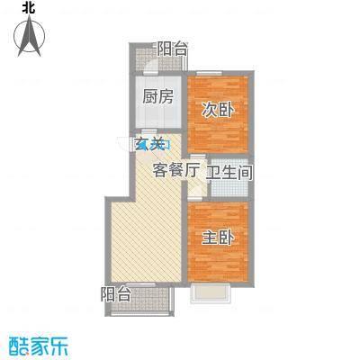 良园新居11.44㎡1号楼A2户型2室2厅1卫1厨