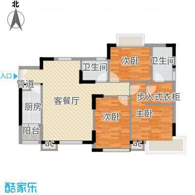 名品建筑115.30㎡4号楼4-2平面图户型3室2厅1卫1厨