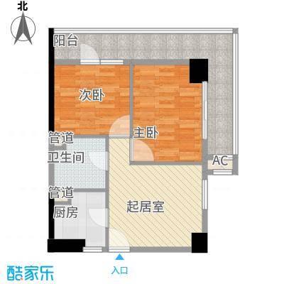 峰尚国际76.62㎡A-b2-01户型2室1厅1卫