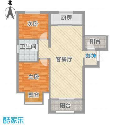 朗悦四季82.50㎡5-8#楼C1户型2室2厅1卫1厨