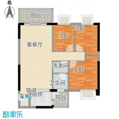 京华奥园第1栋1、2单元05户型3室2厅1卫