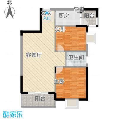 京华奥园81.17㎡第1栋1、2单元01户型2室2厅1卫