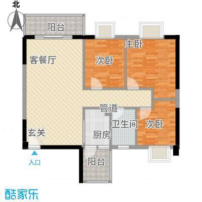 京华奥园4.33㎡第2栋1、2单元02户型3室2厅1卫